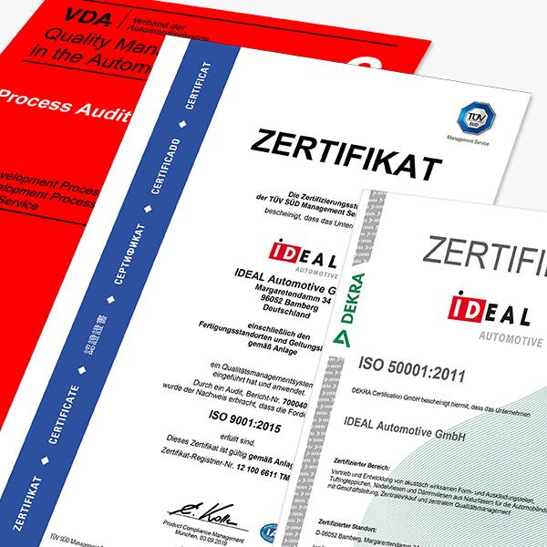 IDEAL Automotive Zertifikate