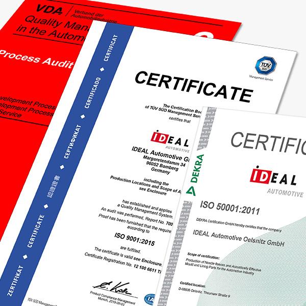 IDEAL Automotive Certifikáty